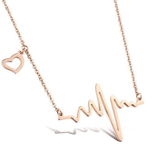 Faysting EU Titanio acciaio placcato oro rosa ciondolo modelli femminili clavicola collana amore pulsa elettrocardiogramma