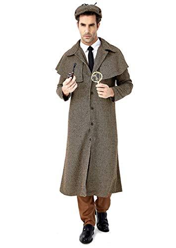 Cappotto Sherlock Holmes Per Uomo Detective Costume Cosplay Halloween Adulto Fancy Dress,L