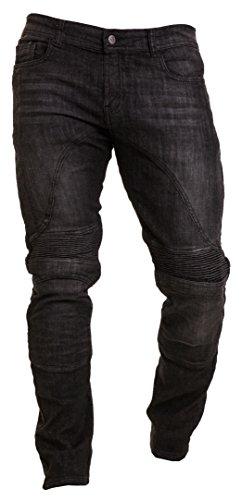 Qaswa Herren Motorradhose Jeans Motorrad Hose Motorradrüstung Schutzauskleidung Motorcycle Biker Pants-38W / 30L-Black
