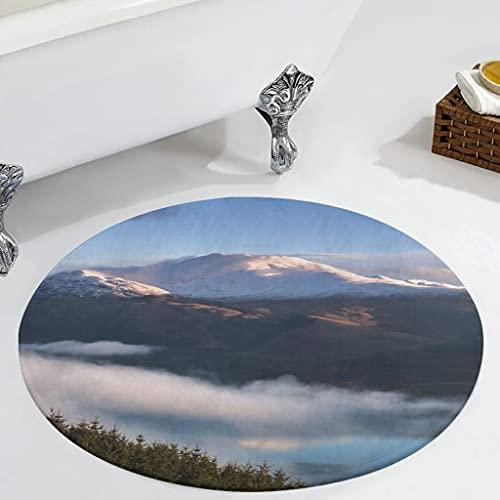 Veryday Alfombra redonda de bosque y nube, moderna, para dormitorio, alfombra como felpudo para la puerta de la casa para la habitación de los niños, color blanco, 60 cm