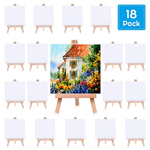 Painting Canvas for Kids, Cridoz 18 Pack Mini Painting Canvas with Easel 4x4 Inches Art Mini Canvases for Kids Painting, Acrylic Pouring Oil Water Color