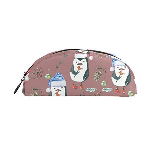 Bonipe Federmäppchen mit Wasserfarben, Weihnachtsmütze, Pinguin, für Stifte, Münzen, Kosmetik, Make-up für Reisen, Büro