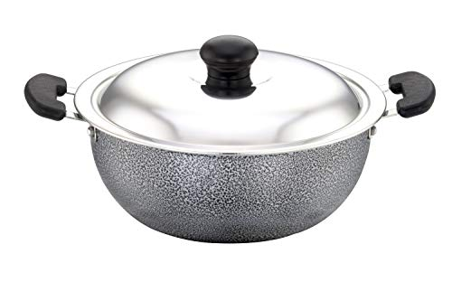 SOWBAGHYA Aluminium Non Stick Deep Kadai with Stainless Steel Lid...