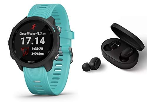 Garmin Forerunner 245 Music - GPS Laufuhr/Smartwatch mit Musikfunktion - frostblau - inkl. Bluetooth Headset