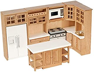 Dollhouse Miniature 1:12 Scale Complete 8 Piece Kitchen Furniture Set in Oak