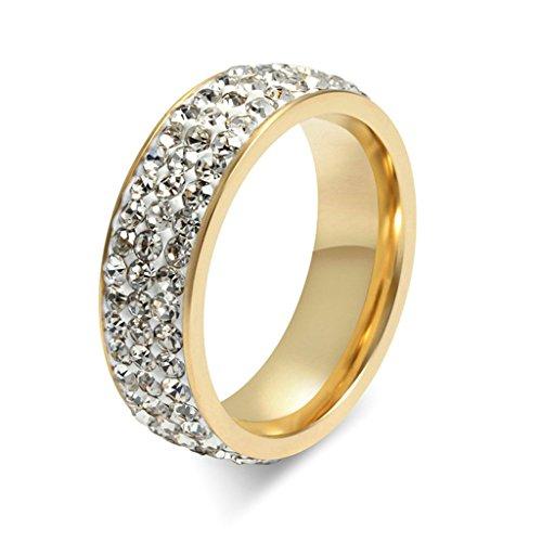 Daesar Anillo 1PC Anillo Mujer de Acero Inoxidable Oro para Mujer Anillo de Matrimonio CZ Anillo Circonita Alianzas Circle Round Cut Talla 27