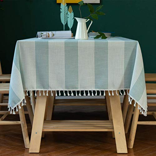 HTUO Christmas Decoration Green Stripes Tablecloth Polyester Rectangle Table Cover Washable Oval Cotton Linen Table Cloth Rectangular Kitchen Table Cover Living Room Outdoor 140 * 140cm