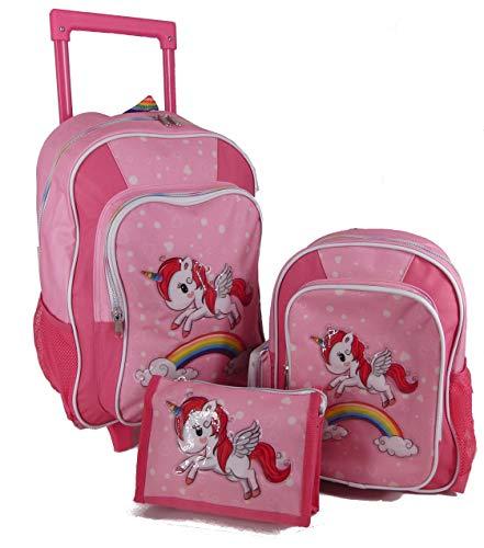 STEFANO Kinder Reisegepäck Einhorn Unicorn Set Pink mit Regenbogen für Mädchen (3tlg. Set + Isybe Flasche)
