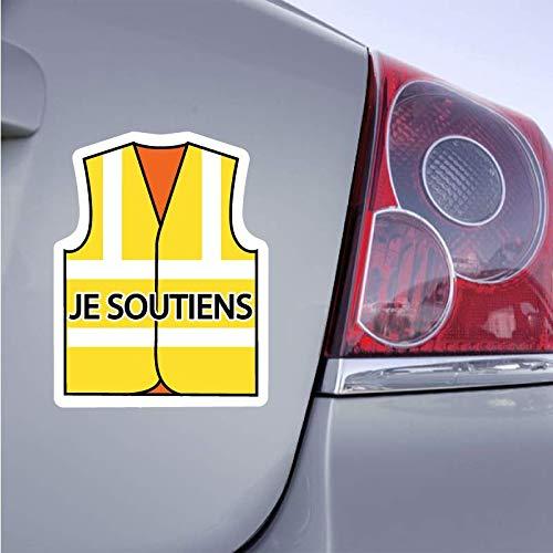 Autocollant Gilet Jaune Sticker Je Soutiens grève - 15cm x 11cm