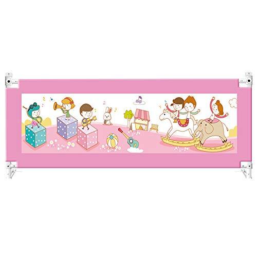 Garde-Corps latéral de sécurité pour Enfant, Hauteur réglable, avec verrou (Couleur : Pink, Taille : 1.5m)