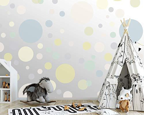 100 wandtattoo Punkte wandsticker Kreise fürs Kinderzimmer - Set Farben, Dots zum Kleben Wandaufkleber Wanddeko - Wandfolie, Kleinkinder, Erstausstattung auf Rauhfaser Grün - Cremegelb - Mint