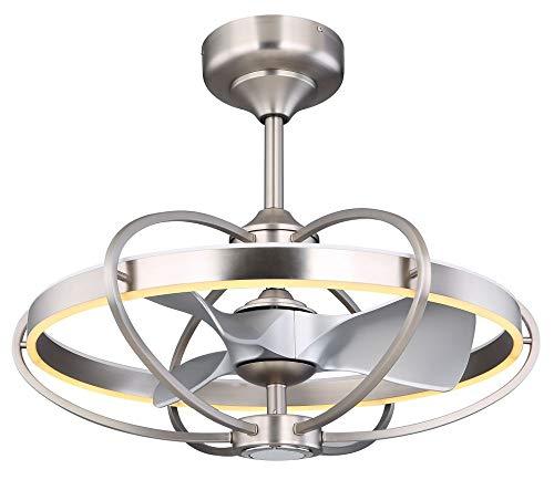 LED Decken Ventilator Lampe Leuchte Bluetooth Lautsprecher Silber Fernbedienung