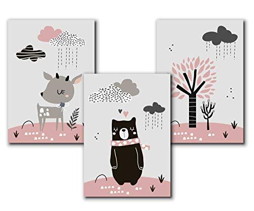 3er Set Kinderposter | Bilder Kinderzimmer Deko Mädchen DIN A4 | Deko Babyzimmer Mädchen Deko | ohne Bilderrahmen | Dekoration Kinderzimmer Mädchen - Bär und Reh - Rosa-Grau