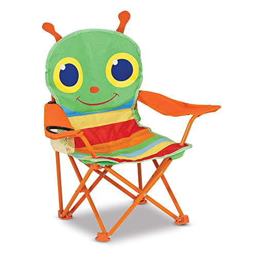 Melissa & Doug Sunny Patch Happy Giddy Child's Outdoor Chair (Easy to Open, Handy Cup Holder, Cleanable Materials, Carrying Bag, Great Gift for Girls and Boys - Best for 3, 4, and 5 Year Olds)