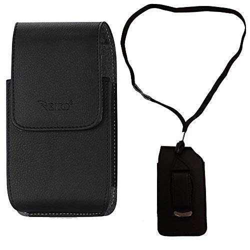 Around The Neck Black Leather Case for ZTE z432 Phone