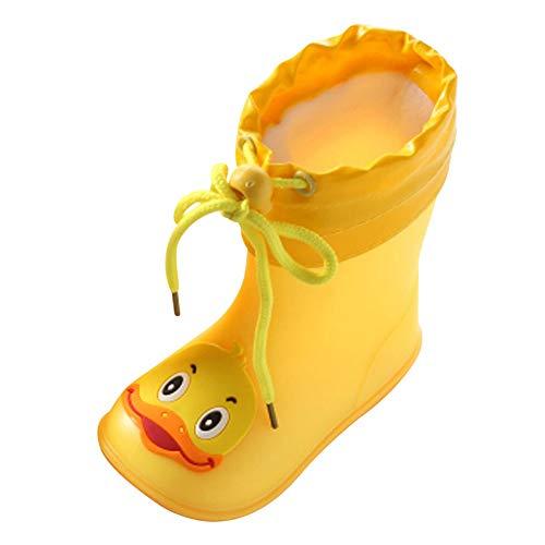 WEXCV Unisex Baby Jungen Mädchen Gummistiefel Kinder Einfarbig Cartoon Ente Verdicken Schnürsenkel Schuhe Kinderschuh rutschfest Wasserdicht Schuhe Regenstiefel