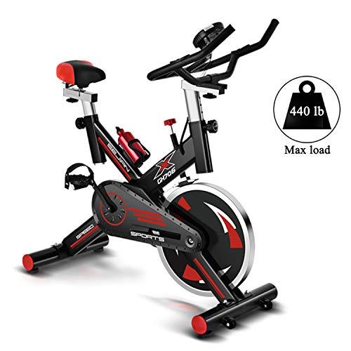 Bicicleta Estática Bicicleta De Ciclismo De Interior Estacionaria, Bicicleta De Ejercicio Cardio Ajustable De Interior Para Gimnasio En Casa, Monitor LCD Con Sensor De Pulso,Negro,112*24*78 cm