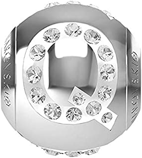 SWAROVSKI LETTER Q Stainless Steel Becharmed 12 MM CRYSTAL BEAD