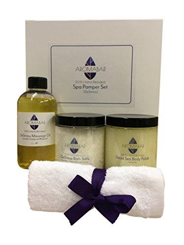 Spa Déstressant Pomponner Le Kit inclut Déstressant Corps Huile De Massage, anti-stress Sels De Bain Trempage, Lavande Dead Sea Exfoliant De Corps
