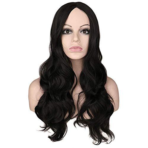 Pelucas para mujer 28 'Pelucas de cabello de onda rizada larga de 28' con piezas de cosplay de la parte media Peluca de fiesta diaria para mujeres Cabello sinttico (color: marrn profundo, Tamao: 28