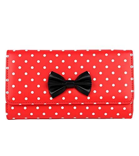 Schompi Billetera Vintage Para Mujer, Patrón De Lunares, Lazo Decorativo, Cuero Sintético, Color:Rojo