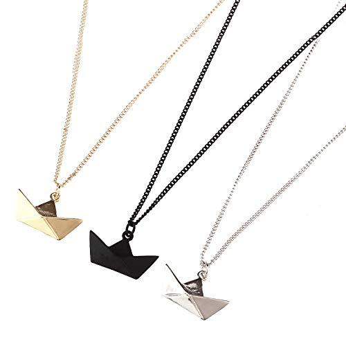 Collares, Ms accesorios de los hombres deseo suerte barco collar 40 cm negro collar niña regalos Colgante Collares (Color del metal: Negro Pistola Chapado)