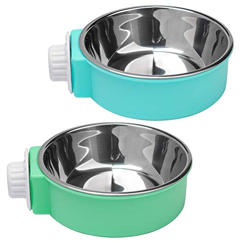 nuoshen 2 Pcs Pet Crate Bowls, 2-in-1 Dog Hanging Bowl Removable Cage Water Bowls for Small Animals
