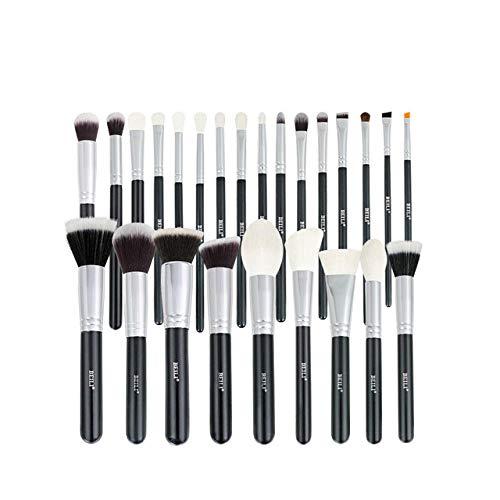Ensemble de pinceaux de maquillage noir Brosses professionnelles en poils de chèvre naturels Fondation Poudre Contour Fard à paupières pinceaux de maquillage-25 pièces