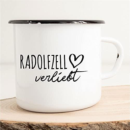 HELLWEG DRUCKEREI Emaille Tasse Radolfzell am Bodensee Verliebt Geschenk Idee für Frauen & Männer 300ml Retro Vintage Kaffee-Becher Weiß mit Stadt Namen für Fre&e & Kollegen