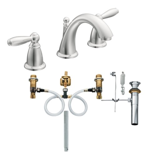 Moen T6620-9000 Brantford Two-Handle Low Arc Bathroom Faucet with Valve, Chrome