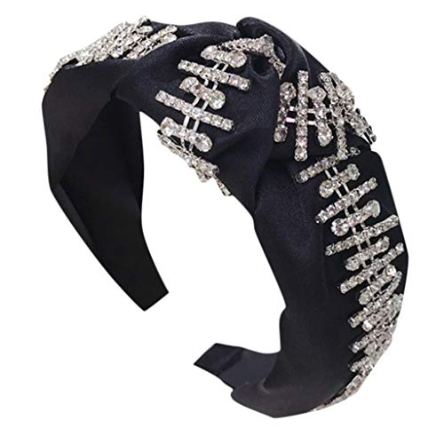 Fashion Lady Trend Bohrstreifen Stirnband Stoff Haarband Kopf Wickeln ZubehöR Geknotete Vollbohrmaschine Luxus Haarschmuck Kostüm Accessoires Breiter Bow Deko Haare Schmuck (Einheitsgröße, Schwarz)