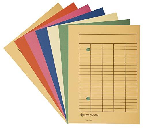 Exacompta 353500B Packung mit 100 Umlaufmappen (Recycling-Karton, 250g, Organisationsdruck, DIN A4) 1 Pack farbig sortiert