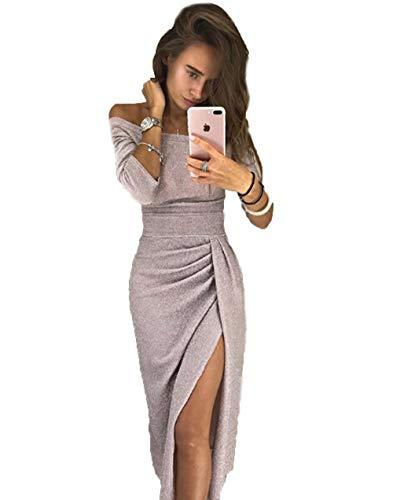 Yutila Damen Schulterfreies Kleid als Abendkleid Partykleid Ballkleid Maxikleid elegant glänzend...
