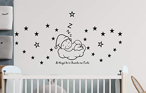 Pegatina pared El Ángel de la Guarda me cuida Dormitorio bebé nube con estrellas Decoración vinilo adhesivo habitación infantil.