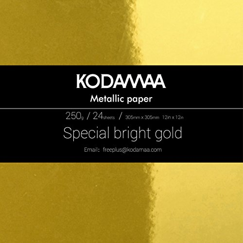 """KODAMAA 12""""x12""""Square Art Craft Gold/Silver Cardstock, Multipurpose Shimmer Metallic Paper Perfect for Festival Crafting, Party Decoration, Gift Packaging (24 Sheets) (Bright Gold)"""