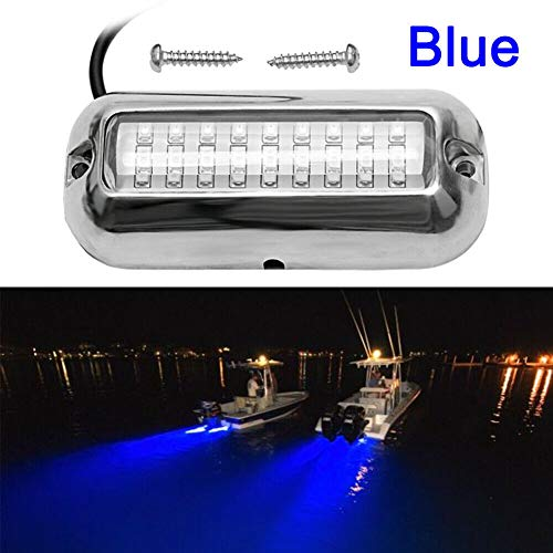 VOFONO Stainless Steel DC12V 27LED Blue Underwater Pontoon Marine/Boat Houseboat Navigation Transom Trailer Lights Waterproof IP68