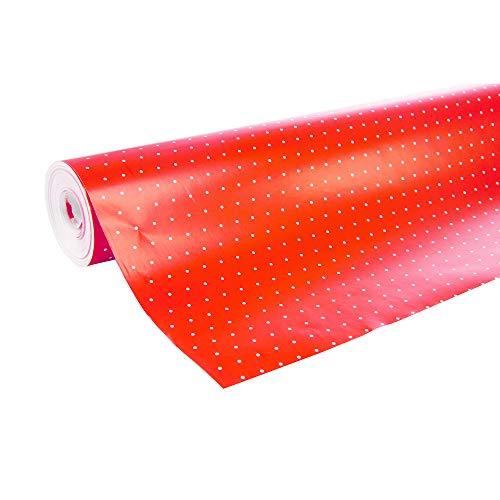 Maildor Alliance 201402C - Rollo de papel de regalo (70 cm x 50 m), diseño de lunares, color blanco y rojo