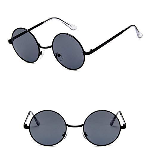 NJJX Gafas De Sol DeMontura RedondaGafas Retro Coreanas De Moda Para Hombres Y Mujeres Gafas Gafas De Sol Negras