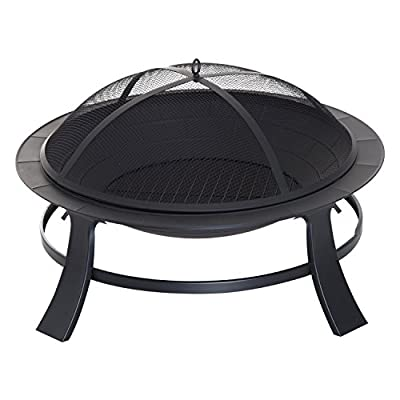 "Outsunny 30"" Round Metal Fire Pit Backyard Outdoor Stove Patio Fire Bowl Garden Fireplace by Sold by MHSTAR"
