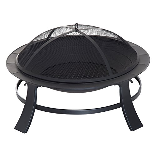 "Outsunny 30"" Round Metal Fire Pit Backyard Outdoor Stove Patio Fire Bowl Garden Fireplace"