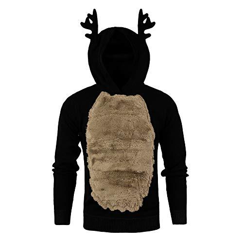 Auifor mannen herfst winter Kerstmis hoody veren met capuchon Kerstmis 3D blouse top