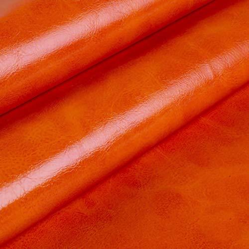 ZXC Venta De Polipiel por Metros Tejido De Piel SintéTica por Tapizar,Polipiel,Manualidades,Vinilo,Cojines o Forrar Objetos 160 cm de Ancho 1m Vendido por Metro(Color:Naranja)