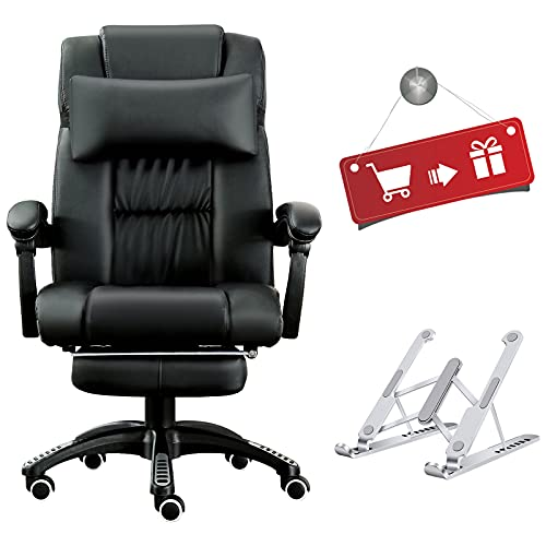 JL Comfurni Computer Chair Office Chair Swivel Faux Leather Desk Chair Ergonomic Recliner with Padded Footrest and Lumbar Cushion Height Adjustable -Black