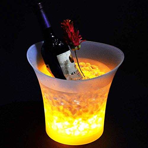 Zehui LED Ice Bucket 7-Color Champagne Wine Drinks Beer Ice Cooler for Restaurant Bars Nightclubs KTV Pub Party 5L Glowing
