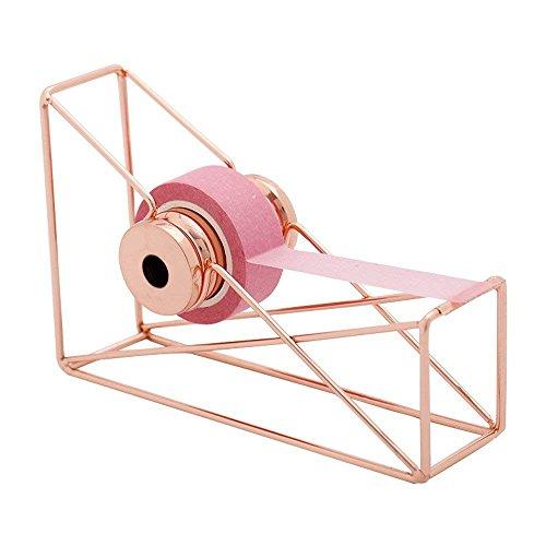 Dispensador de cinta de escritorio de alambre de metal, color oro rosa, para decorar tu escritorio y oficina, diseño ligero y novedoso