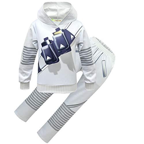 MJUNbobu Disfraz de DJ Cosply para nios con capucha para nios y fans de la msica de 3 a 10 aos - blanco - 130/altura:119/130 cm
