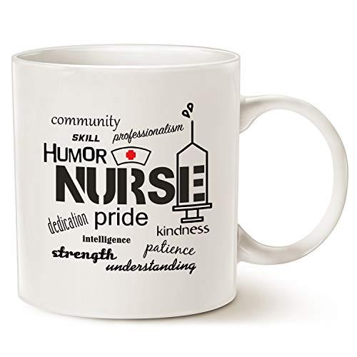 Taza de café de Nurse Pride-Attributes, el mejor día único de la enfermera para la taza de porcelana de la enfermera, color blanco, 11 oz