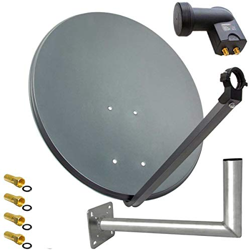 PremiumX SAT Anlage 80cm Anthrazit Satellitenantenne Stahl Satellitenschüssel Twin LNB Wandhalter 45cm ALU 2TN 4 Stecker