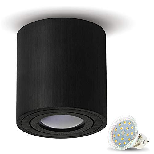 JVS Aufbauleuchte Aufbaustrahler Deckenleuchte Aufputz LED 4W Kaltweiss Milano GU10 Fassung 230V Rund Schwarz schwenkbar Deckenleuchte Strahler Deckenlampe Aufbau-lampe Downlight aus Aluminium