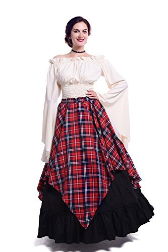 NSPSTT Womens Renaissance Medieval Costume Victorian Dresses Gown Scottish Dress Red Plaid E-XXL